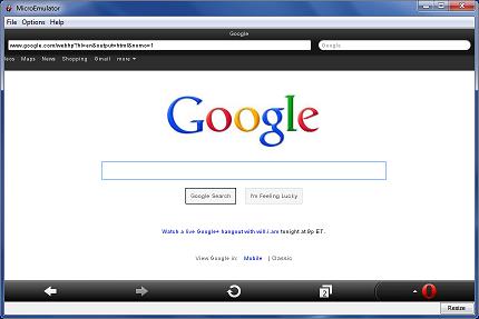 Opera Mini on MicroEmulator in Microsoft Windows
